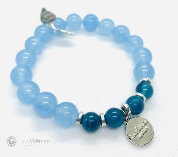 Agate Abacus Oval 13x18MM withBlue Agate 8mm&Aquamarine 10mm Bracelet